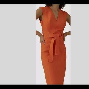 Karen Millen Orange Sheath Tie Waist Dress.